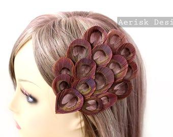 Mauve Pink Peacock feather fascinator (5 fastener, 12 color option) Eleanor Design feather cap,mardi gras,derby fascinator,carnivale