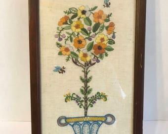 Vintage framed handmade cross stitch