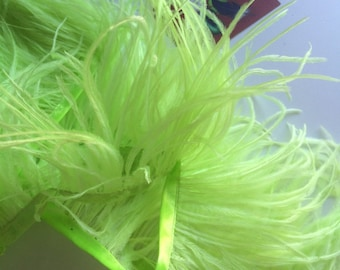 OSTRICH FEATHER FRINGE  Exclusive Quality / Neon Lime Green  / 3017