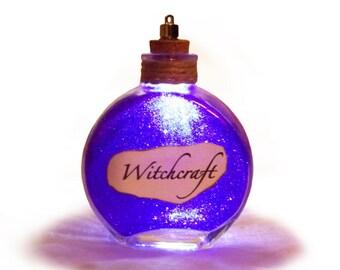 Light Up Bottle of Witchcraft, Gothic Decor, Halloween Decor, Magic Bottle