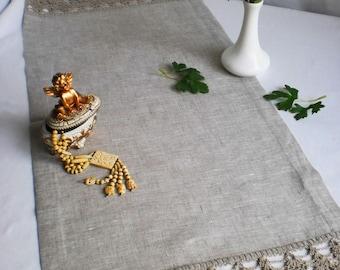 Linen Table Runner Gift For Her Shabby Chic Runner Lace Tablecloth Gray  Table Runner Wedding Gift