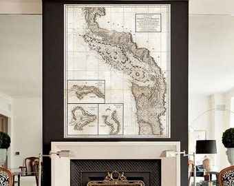 """Map of Pacific North West 1798, Vancouver Island & Puget Sound, 4 sizes up to 36x45"""" Washington British Columbia - Limited Edition of 100"""