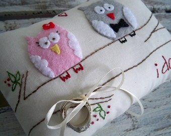 Owl Always Love You.  Owls in Love Wedding Ring Bearer Pillow