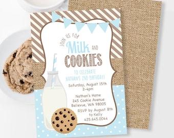 Milk and Cookies Invitation, Milk and Cookies Birthday Invitation, Cookies and Milk Party, Burlap Birthday Invitation, Boy 1st Birthday