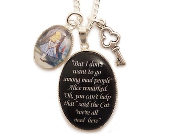 Alice in wonderland necklace Cheshire cat We're all mad here with key charm pendant