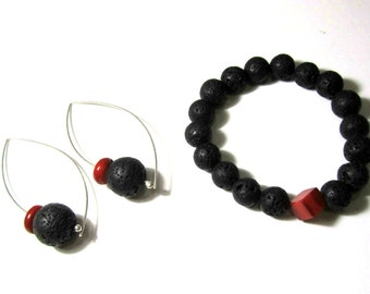 Black Lava Red Coral Jewelry Set Sterling Silver Earrings Stretch Bracelet Santorini Volcanic Lava Red bamboo Coral Handmade Greek Jewelry