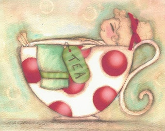 Print of my original Whimsical Polka Dot Teacup painting - A Soothing Cup of Tea - 7x5