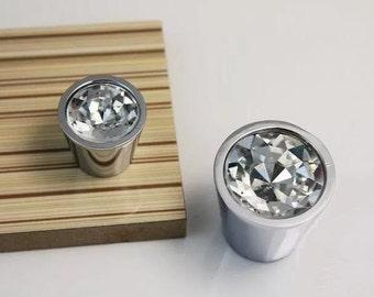 Crystal Dresser Knobs Glass Knobs Drawer Knobs Pulls Handles Kitchen Cabinet Handle Knob Pull Furniture Hardware Clear Silver Chrome Pulls