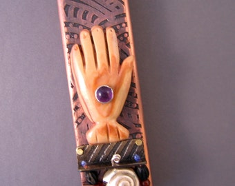 Handmade Etched Copper Mezuzah with Carved Hamsa