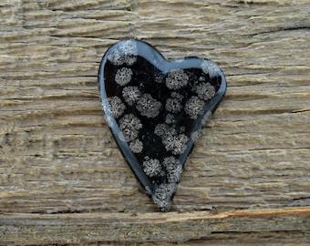 Fire Works Obsidian Heart Cabochon