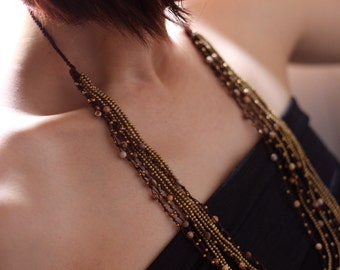 Brown Jasper Multi Strand Layered Necklace