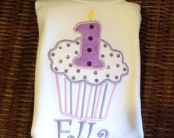 Lavender cupcake shirt personalized with name and number-up to 6x
