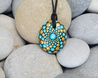Gold Turquoise Painted Necklace - Paint Rock - Mandala Rock - Turquoise Pendant - Mandala Art - Hand-Painted Pendant Stone - Chakra