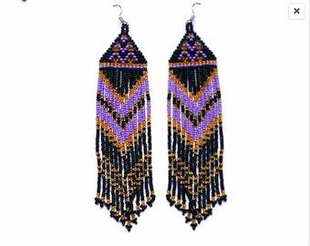 Beaded Native American Earrings  Inspired.  Black  Gold Purple Earrings. Long Earrings.  Beadwork.
