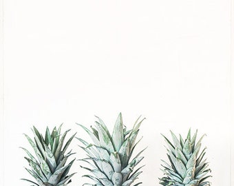 Food Photography- Three Pineapples Print, Kitchen Wall Art, Fruit Photography, Pineapple Photograph, Neutral Decor, Tropical Fruit Photo