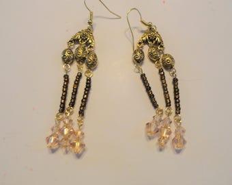 Gold Earrings Swarovski beads Chandelier