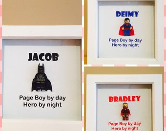 Page boy, pageboy, page boy gift, pageboy gift, page boy frame, pageboy frame, superhero gift, superhero frame, thank you gift, novelty gift