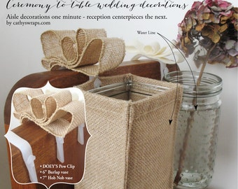 Wedding ceremony pew decorations - Doey's Church Pew Clip hang burlap vases, Mason jars, tissue flower pom poms, pew bows, aisle markers 12