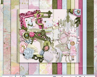 Enchanted Colors- Full Digital Scrapbook Kit