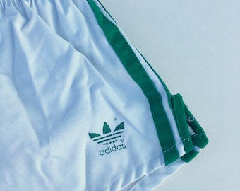 Vintage Adidas Sport Shorts with Liner Youth Large White and Green