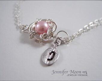 Egg nest bracelet, Sterling Silver bracelet, Sterling Silver nest, handstamped leaf, personalized bracelet, new mom, expectant mommy,sisters