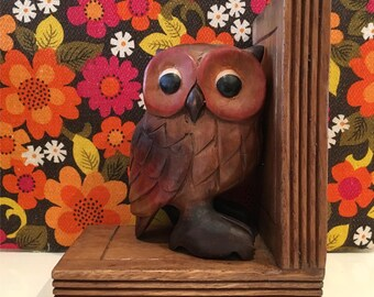 Vintage Wooden Kitsch Owl Bookend
