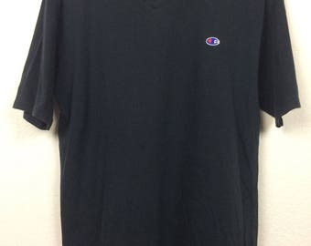 Vintage 90s Champion V Neck T Shirt Size L