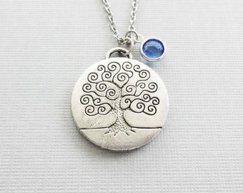 Tree of Life Necklace, Large Tree of Life, Family Tree, Nature Inspired, BFF, Friend, Silver Jewelry, Swarovski Channel Birthstone Crystal