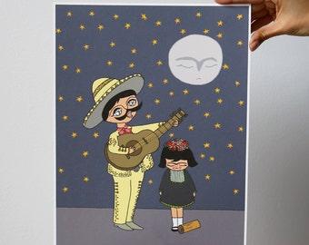 The Mariachi  - illustration - print - 10.6 x 13.8 inches - Fabriano paper