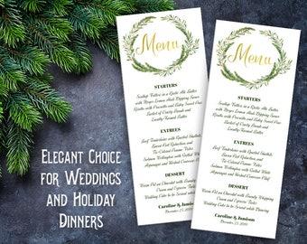 Printable Menu ~ Winter Wedding Christmas ~ INSTANT DOWNLOAD ~ Editable Adobe PDF ~ 3.75 x 9.25 Gold Pine Wreath Holiday Dinner Watercolor