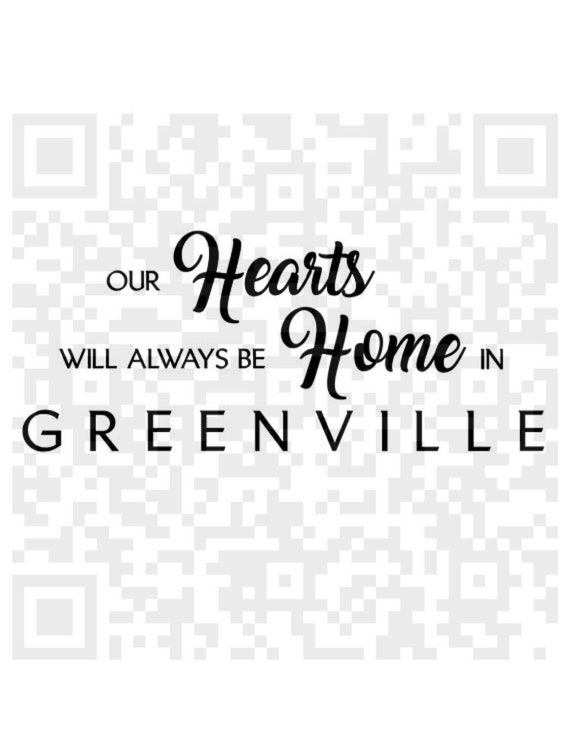Our Hearts Will Always Be Home In Greenville Svg, Heart Home Digital Cutting File, Cricut SVG, Cricut, Print and Cut File