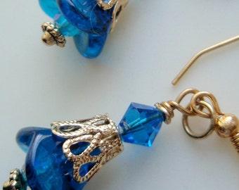 Blue and Gold Earrings, Gold Earrings, Blue Earrings, Flower Earrings