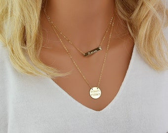 Custom Layered Necklace, Personalized Necklace Layering, Coordinates Disc Necklace, Nameplate Bar Necklace, Engraved Monogram Necklace Gold