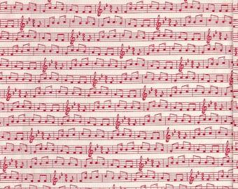 Moda Fabrics Apple Jack Music in Red - Half Yard