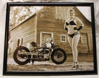 16x20 inch framed poster of a redhead with freckles with an old Indian motorcycle