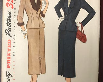 """1950 Simplicity 2-Piece Skirt Suit Pattern  # 3452 - UNCUT - Sophisticated Fitted Jacket & Pencil Skirt - Size 16 1/2, Bust 35"""""""