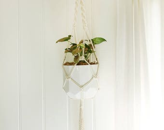 Medium Macrame Plant Hanger - Calisto, Natural Cotton Rope Hanger, Hanging Planter | Made to Order |Free Shipping Australia