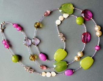 Extra long necklace, long necklace, Spring necklace, Pink and Green necklace, Deep Pink, Spring Green, Ivory, Lavender