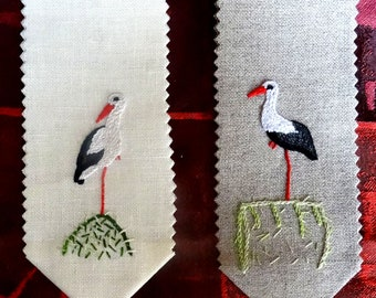 OOAK embroidery stork bookmark