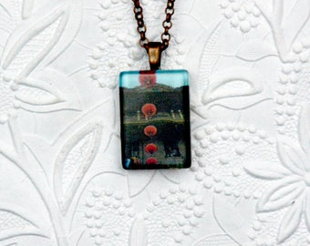 Chinatown, San Francisco Photo Pendant Souvenir Lantern Necklace Chinatown Photo Necklace