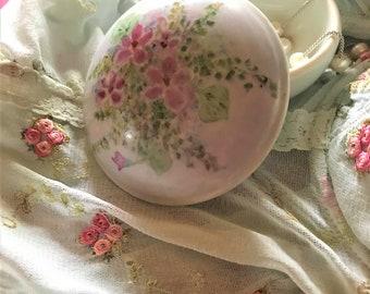 SCHMIDT (Brasil) Hand-painted Porcelain Trinket Dish & Lid