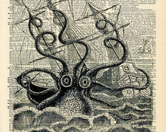 Altered Art Book Print - Giant Squid Sea Monster - Upcycled Book Print - Pirate Ship Nautical Art Print