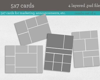 5x7 Card Templates; 4 psd template files - INSTANT DOWNLOAD