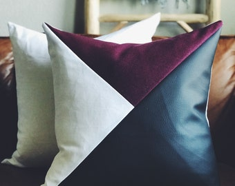 Vegan Leather, Linen + Pendleton Wool (Burgundy) Geometric Pillow Cover