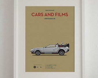 Back to the Future car movie poster, Delorean Art Print A3 Cars And Films, home decor prints, Car Print