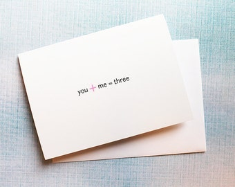 You + Me = Three, Simple & Adorable Pregnancy Reveal Card