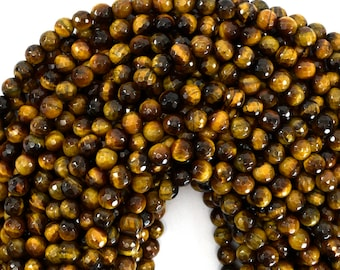 """6mm faceted tiger eye round beads 15"""" strand 39189"""