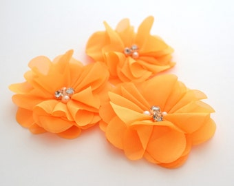 3 Rhinestone Chiffon Flowers--Neon Orange