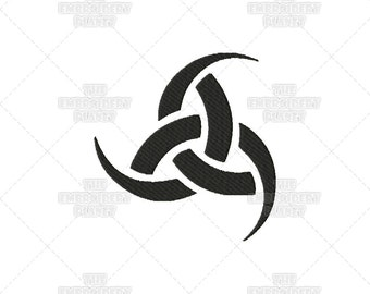 Solid Triple Horns of Odin Viking Norse Asatru Spiritual Religious Sacred Symbol Machine Embroidery Pattern Design