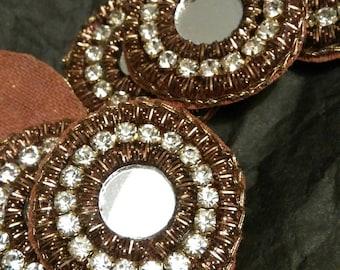 embroidered small round copper colored